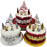 5 piece Set Merry Christmas Cake Decorations yule log cupcake toppers cake