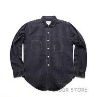 Bronson Vintage Stripe Work Shirt 30s Men's Long Sleeve Button-Down Casual Shirt