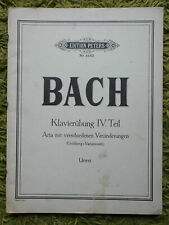 J S Bach Piano Exercises (Klavierubung) Part 4 Goldberg Vars. Ed. Peters Nr.4462