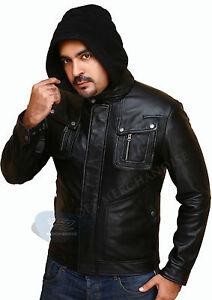 Men's Black Biker Hunt Slim Fit Genuine Leather Jacket with Detachable Hood
