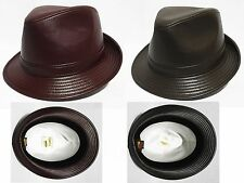 100% genuine leather Unisex fedora safari bucket  hat cap made in usa Godfather