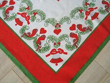 Vintage German Christmas Tablecloth Table runner w/ Xmas bells & Cut Birds