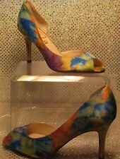 UNISA COLORFUL TEXTILE PEEP-TOE STILETTO HEEL FANCY COCKTAIL PUMPS SZ 7.5