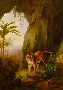 Tiger in a Cave by Jacques-Laurent Agasse - 60cm x 42cm Art Paper Print