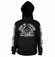 Official Licensed Sons Of Anarchy - B/W Distressed Flag Black Hoodie
