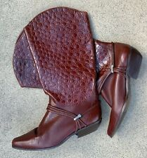 Vintage Bootalino Boots Cowboy Cowgirl Western Embossed Leather 8 1/2 M 1980s