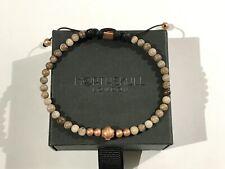 NORTHSKULL Rose Gold on Silver Petrified Wood Agate Men's Bead Bracelet BNIB