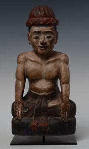 Early 20th Century, Antique Burmese Wooden Man Figurine