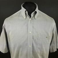 Lacoste Mens Vintage Shirt 39 (MEDIUM) Short Sleeve Grey Regular Fit  Cotton