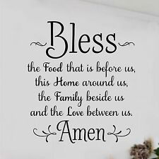 BLESS THE FOOD BEFORE US AMEN Kitchen Dining Home Wall Decal Vinyl Words 8 x 10