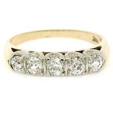 Antique 14k Two Tone Gold .80ctw Old European Cut Diamond Wedding Band Ring Sz 6