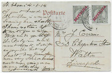 1914 SAO TOME+PRINCIPE 2x10r Republica o/p Portugal Colonies Cameroon PPC->GB