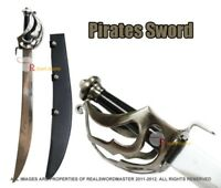 "29"" Scimitar Pirate Cutlass Sword with Leather Sheath Brand New"