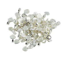 100Pcs Silver White Heart Glue on Bails Pendant Cabochon Jewellery Findings