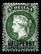 St. Helena. 1884. 1/2d on 6d. Green. SC# 33. SG 34. XF Used