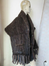 Bright /Elegant best American mink fur knitted Lantern Cape/shawls /Poncho Brown