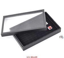 Black Ring Earring Velvet Storage Display Box Jewelry Organizer Case 30x19x4cm