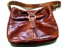 Stuart Weitzman Made in Spain  Croc- Leather Brown Women bag  Excellent cond.