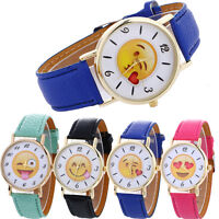 Neutral Cute Men Expression Leather Quartz Wrist Watch Women Wristwatch