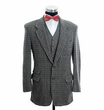 Donegal Tweed Houndstooth Hacking Rear Side Vents Sport Coat Jacket 42 Long/Tall