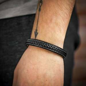 Black Leather Bracelet with White Stitching and Steel Clasp LIMITED STOCK