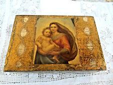 Vintage Italian Florentine Gold Gilt Wooden Trinket/Rosary Box Madonna and Child