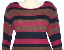 Rafael Women Knit Top L 84%Acrylic/16%Metallic Pull Over Multi-Color  #9-406