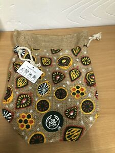 New The Body Shop Pattern Medium Size Pouches Drawstring Bag 100%jute Material