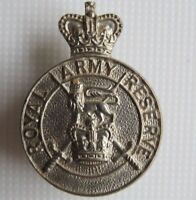 ROYAL  ARMY   RESERVE  <>  SOLID  SILVER  LAPEL  BADGE  <>  USED