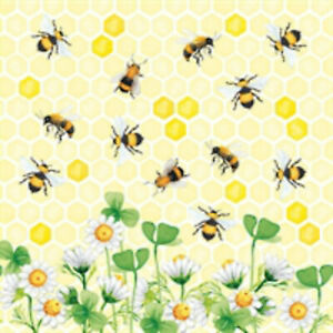 4 single paper napkins 33 cm, bee joy, bees, daisies, decoupage, craft R2002