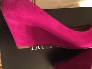 New J. Crew Bright Pink Suede Wedges Sz. 8 Made In Italy