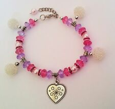 Pink Purple & Silver Heart PET Dog Cat Necklace Collar HANDMADE Pets Jewelry