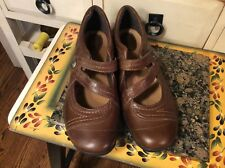 Women's Size 8½ W Clarks Artisan Mary Jane Shoes Brown Leather- EUC