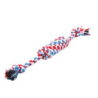 Color Puppy Dog Pet Animal Cotton Braided Bone Rope Chew Knot Playing Toy LD