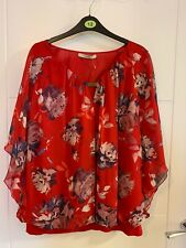 George Red Floral Lined Batwing Poncho Style Top Size 16