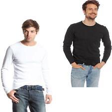 Material de algodón para hombre superior Básica De Manga Larga Jersey Sudadera Paquete de 2 tamaño S-2XL