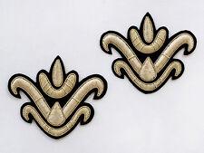 "Lotus Flower 2 Hand-Embroidered Renaissance Appliques 4""x3"" Gold Bullion Patch"