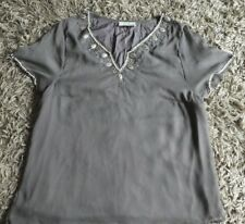 💜 Anne Harvey 💜 Brown Chiffon Short Sleeve Blouse / Top Extra Large XL