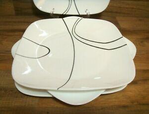 "SET OF 4 - CORELLE VITRELLE - SIMPLE LINES - 10 1/2"" SQUARE DINNER PLATES"