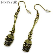 NEW PAIR OF ANTIQUE GOLD SKULL & BONE DROP DANGLE GOTHIC PUNK BIKER EMO EARRINGS