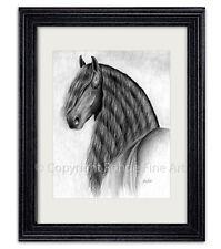 Friesian Stallion baroque black horse Framed Art gorgeous portrait artist signed