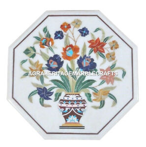 Marble Coffee Mosaic Table Top Marquetry Inlay Malachite Floral Arts Decor H1705