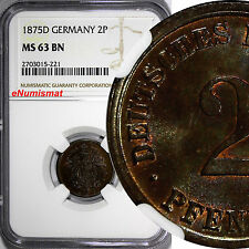 Germany - Empire Wilhelm I Copper 1875-D 2 Pfennig NGC MS63 BN KM# 2