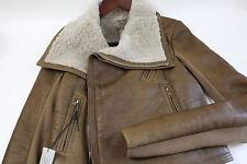 $4166 RICK OWENS Classic Shearling Moto Jacket Size 42  USA Size 8