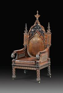 Carved wooden throne and ivory inlays, Indo Portuguese 19th century Arm Chair