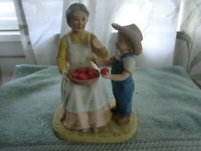 Vintage Homco Home Interiors Denim Days Figurine Helping Grandma