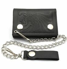 Trifold Black Leather Biker Chain Wallet Embossed Native Design