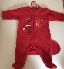 Disney Baby Girl Minnie Mouse Xmas Red Sleepsuit With Stocking 0-1 Months New