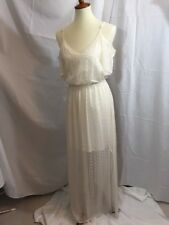 New Women's Ella Moss 100% Silk Maxi Dress Natural/cream Sz M