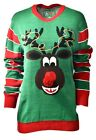 Women's RUDOLPH Reindeer Holiday Party Ugly Christmas Xmas Sweater Sz L A881